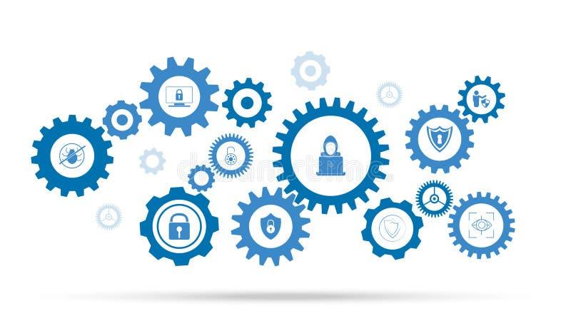 Hakkerpictogram Van de reeks van de cyberveiligheid stock illustratie