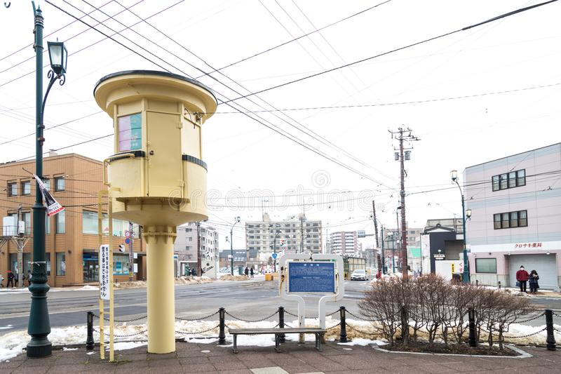 Hakodate, Japan, January 28, 2018: Ancient Switch Tower built i royalty free stock images