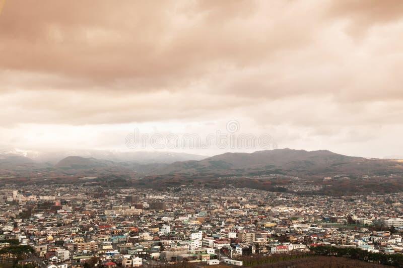 Hakodate stad i Hokkaido, Japan De tredje störst in efter underminerar arkivfoton