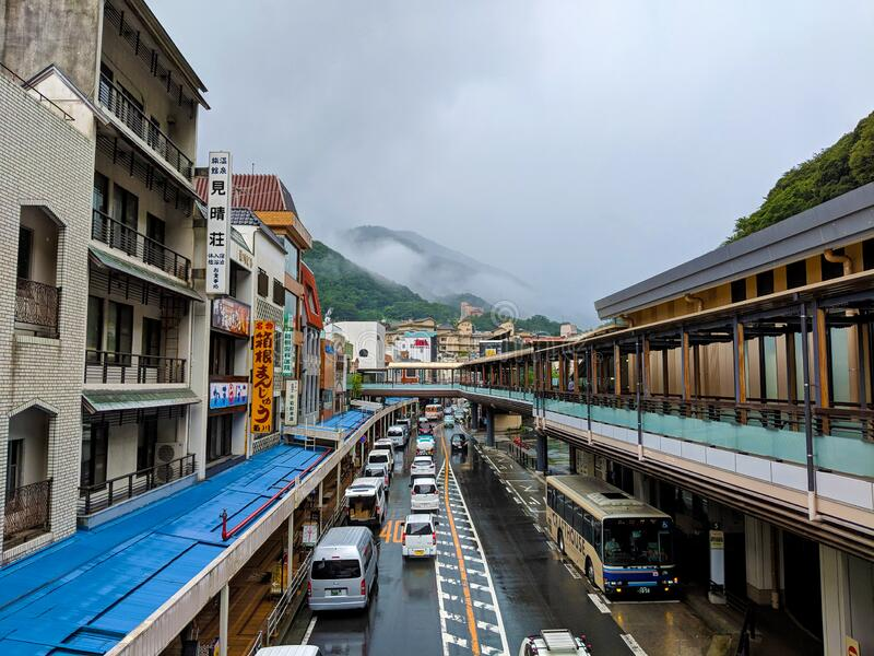 Hakone Downtown on a Cloudy Day stock photos