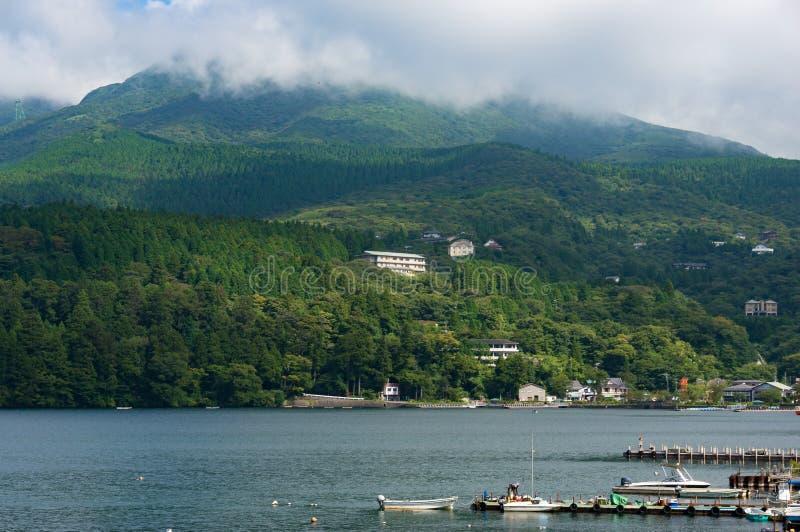 Hakone i Ashi jeziora brzeg obrazy royalty free