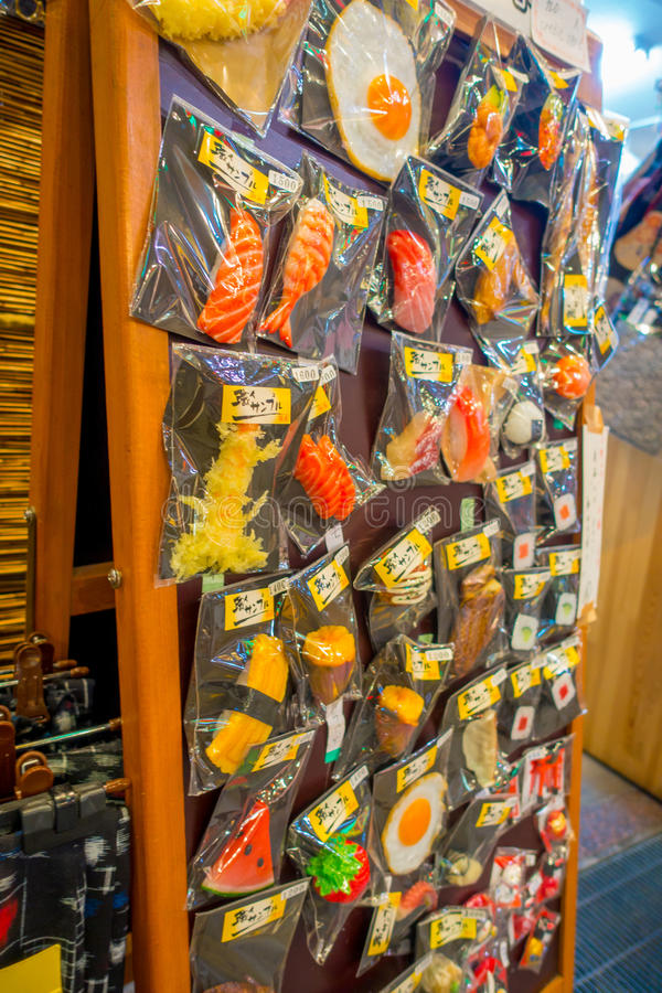 HAKONE, JAPAN - JULY 02, 2017: Plastic food toys inside of plastic bags in Teramachi, is an indoor shopping street stock images