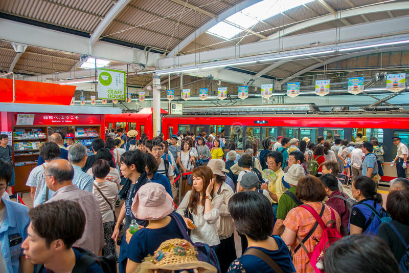 HAKONE, JAPAN - JULY 02, 2017: Unidentified people at the interior of train during rainy and cloudy day.  royalty free stock photos