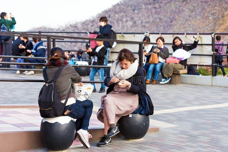 HAKONE, JAPAN - NOVEMBER 5, 2017: Mensen in schone kippen zwarte eieren Exemplaarruimte voor tekst stock afbeelding