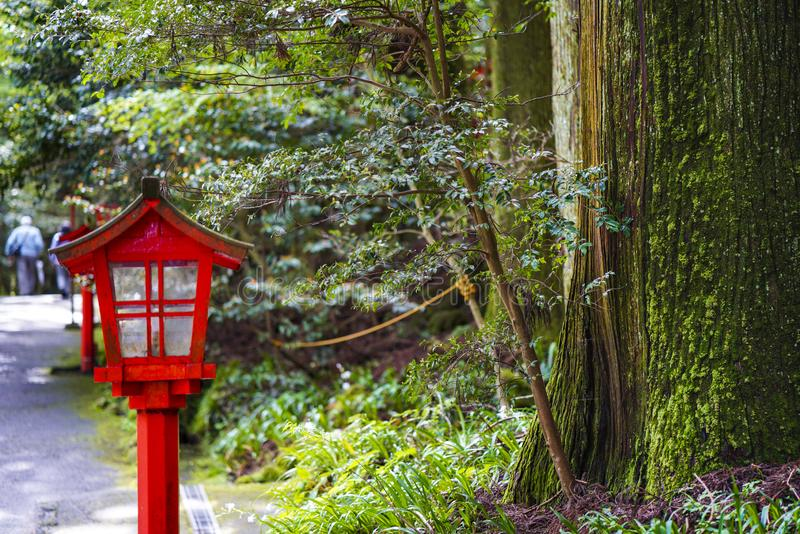 The view of Hakone Shrine. The Hakone Shrine is a Japanese Shinto shrine on the shores of Lake Ashi in the town of Hakone royalty free stock image