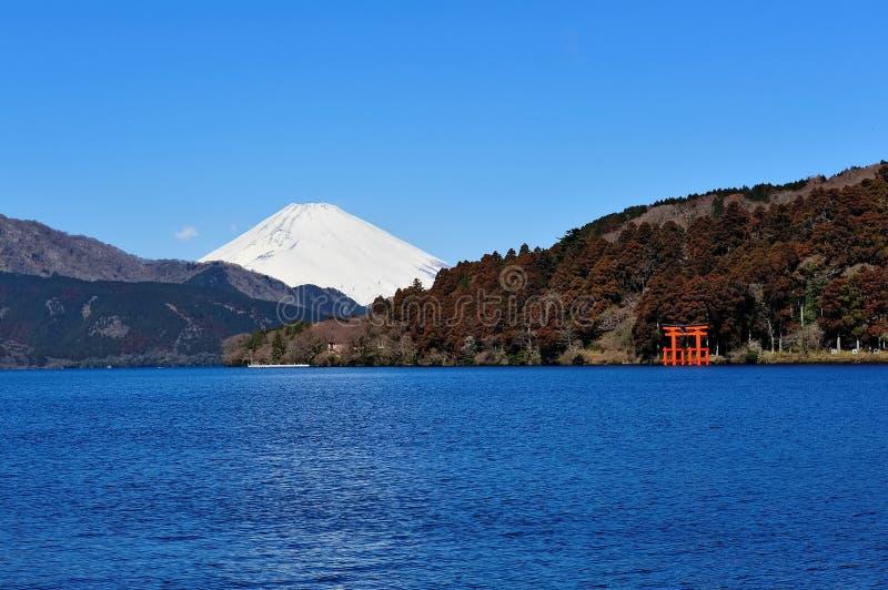 Hakone Lake and Mount Fuji stock images