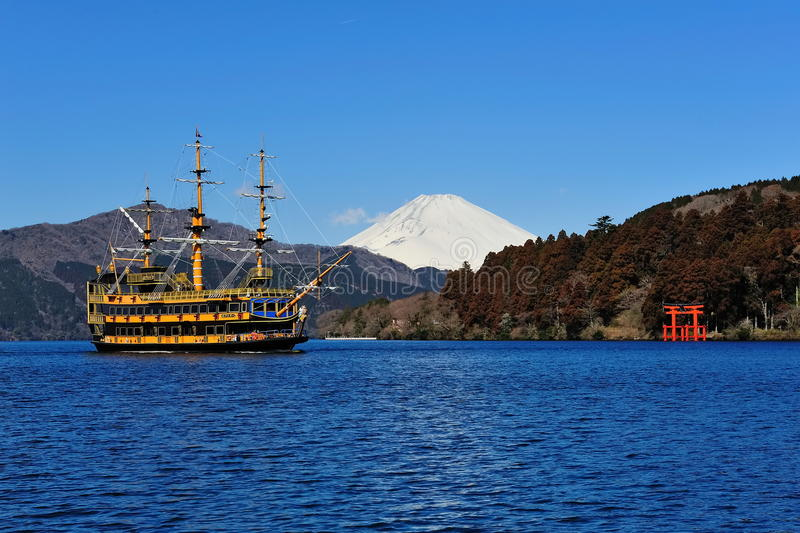 Hakone Lake, Mount Fuji & Famous Pirate Ship Stock Photos
