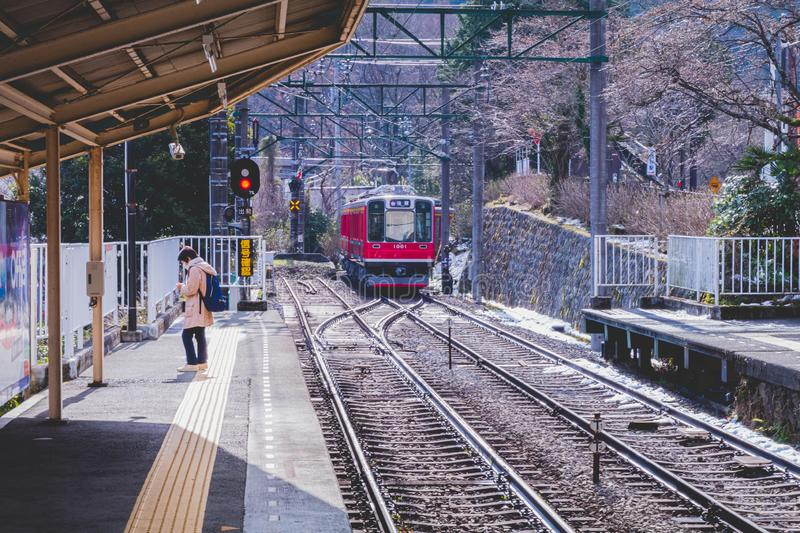 Hakone Tozan Train arriving to the station stock photos