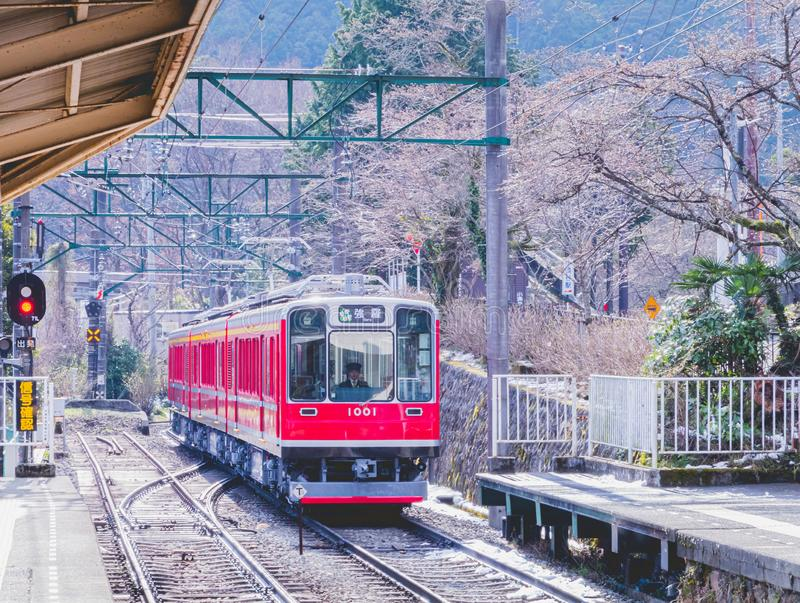 Hakone Tozan Train arriving to the station stock images