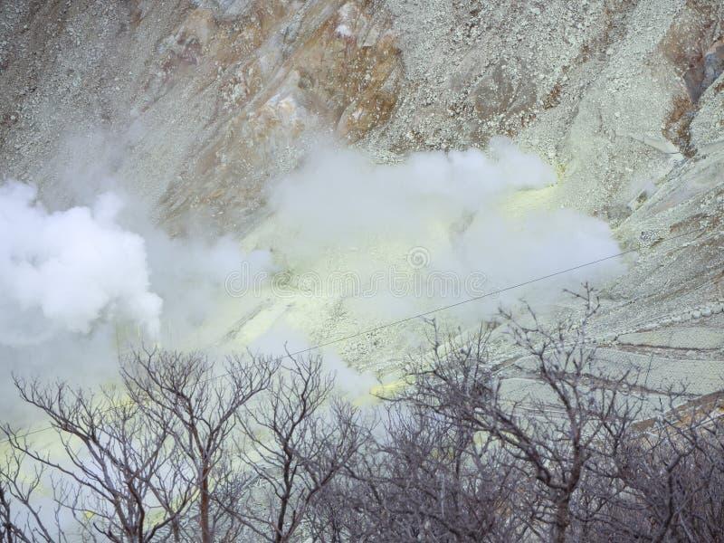 Hakone w Japonia Owakudani jest geotermicznym doliną z aktywnymi siarek wentylacjami i gorącymi wiosnami w Hakone obrazy royalty free