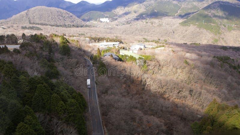 Hakone w Japonia Owakudani jest geotermicznym doliną z aktywnymi siarek wentylacjami i gorącymi wiosnami w Hakone zdjęcia royalty free