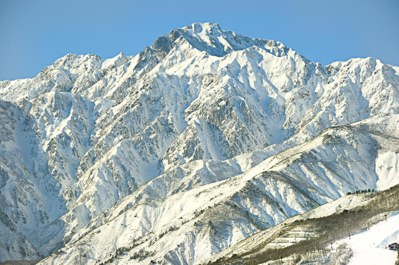 Hakuba mountain range in afternoon early winter. Hakuba mountain range in the afternoon early winter. The chair lift visible bottom right is located on the top royalty free stock images