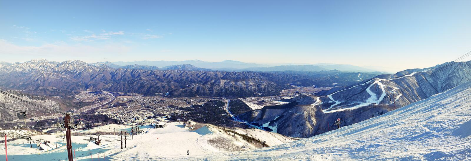 Hakuba town nestled between the mountain ranges. Hakuba town nestled between the snow covered mountain ranges early in the winter season. A popular ski slope in stock images