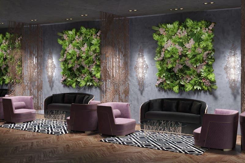 Hal, VIP zetels in het restaurant royalty-vrije illustratie