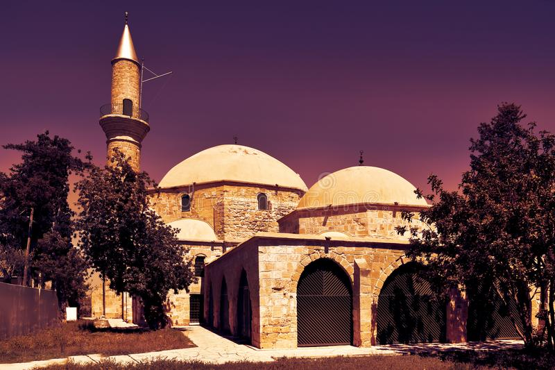 Hala苏丹Tekke清真寺在塞浦路斯 免版税库存图片