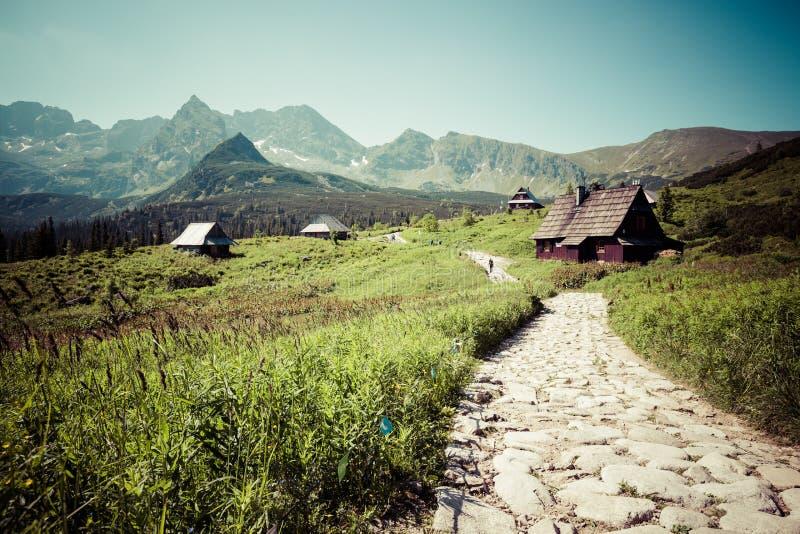Hala Gasienicowa (Valey Gasienicowa) en las montañas de Tatra en Zakopa imagen de archivo libre de regalías