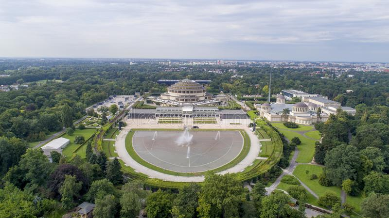 Hala Stulecia, 'aw de WrocÅ, UNESCO, Polônia, 08 2017, vista aérea foto de stock