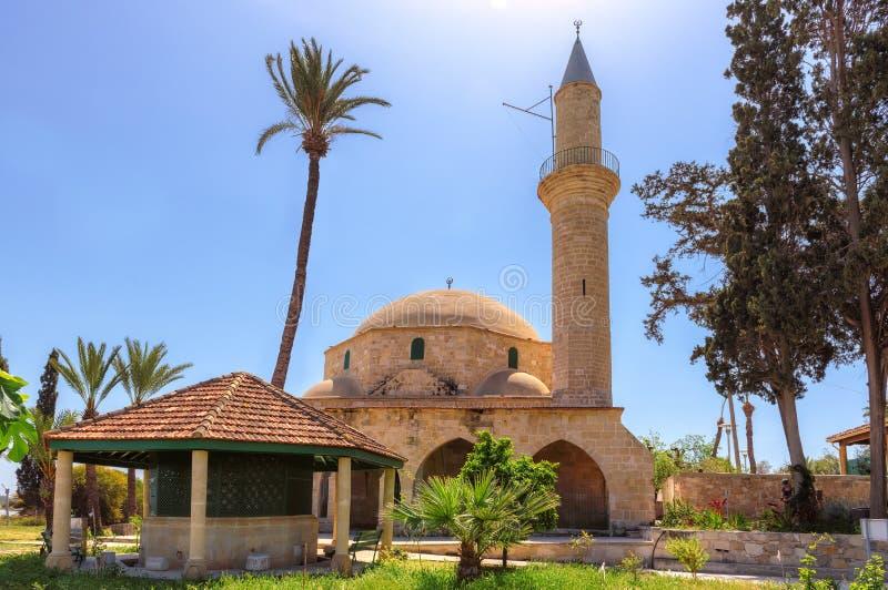 Hala Sultan Tekke é o marco notável, Larnaca, Chipre imagem de stock