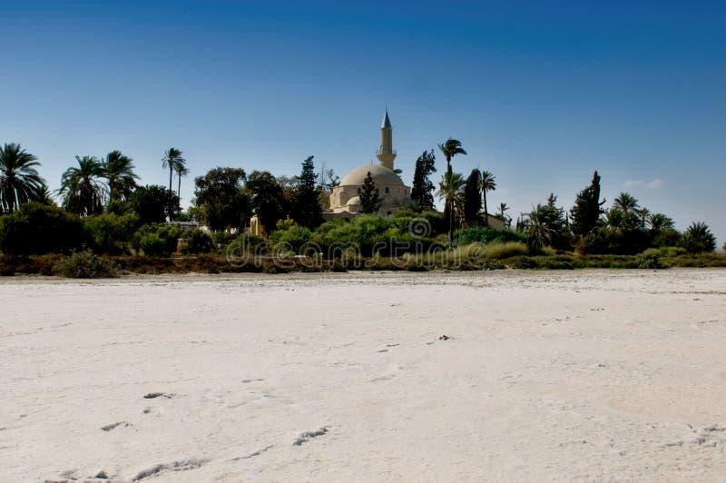 Hala Sultan Tekke Cyprus - salt sjö Larnaka arkivfoto