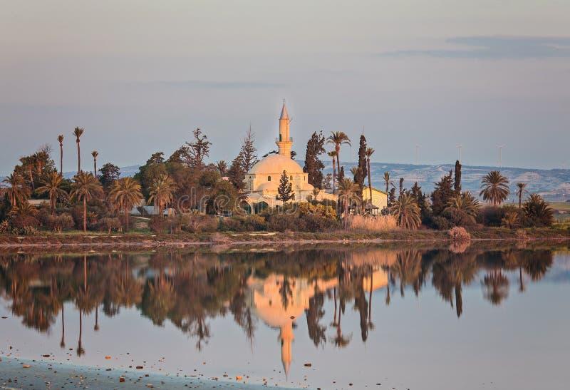 Hala Sultan Tekke eller moské av Umm Haram på Larnaca Salt Lake i Cypern royaltyfri bild