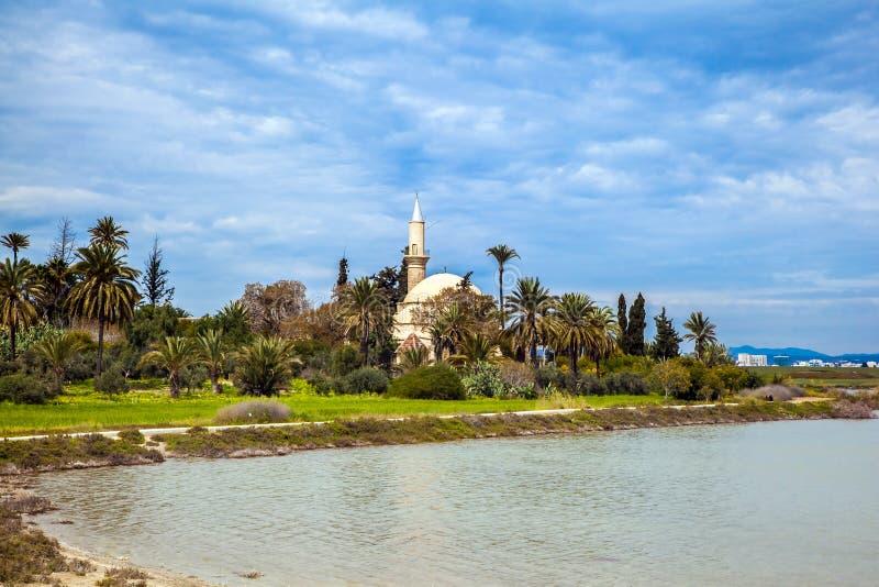 Hala Sultan Tekke eller moskén av Umm Haram arkivfoton