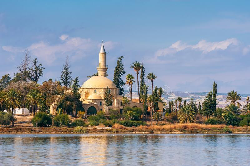 Hala Sultan Tekke Mosque in Larnaca Cyprus. Cyprus is an Eurasian island country in the Mediterranean Sea and southeastern most part of Europe stock photography