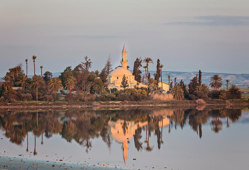 Hala Sultan Tekke or Mosque of Umm Haram on Larnaca Salt Lake in Cyprus. Hala Sultan Tekke or Mosque of Umm Haram is a Muslim shrine on the west bank of Larnaca royalty free stock image