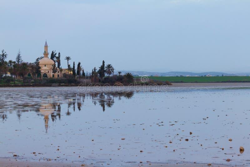 Hala Sultan Tekke på den Larnaca salt-sjön i det Cypern landskapet arkivfoto