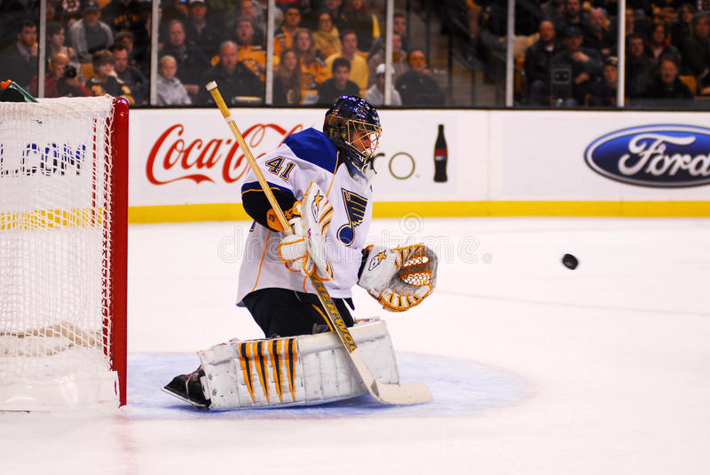 Halak makes a save. Juroslave Halak, newly acquired goalie for the St. Louis Blues makes a save against the Boston Bruins, November 6, 2010 royalty free stock image