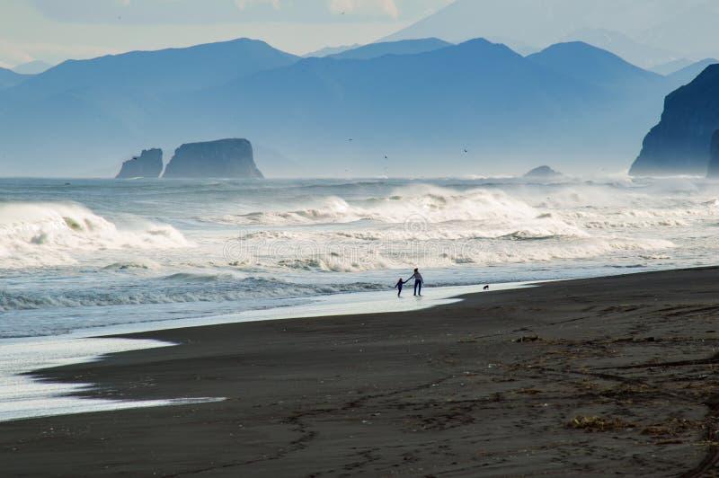 Halaktyr strand kamchatka Rysk federation För mörker för svartfärg nästan strand för sand av Stilla havet Stenberg och arkivbilder