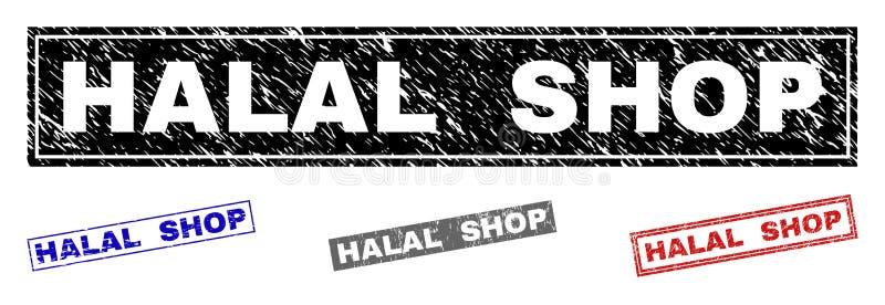 HALAL Grunge SHOPPAR texturerade rektangelstämpelskyddsremsor stock illustrationer