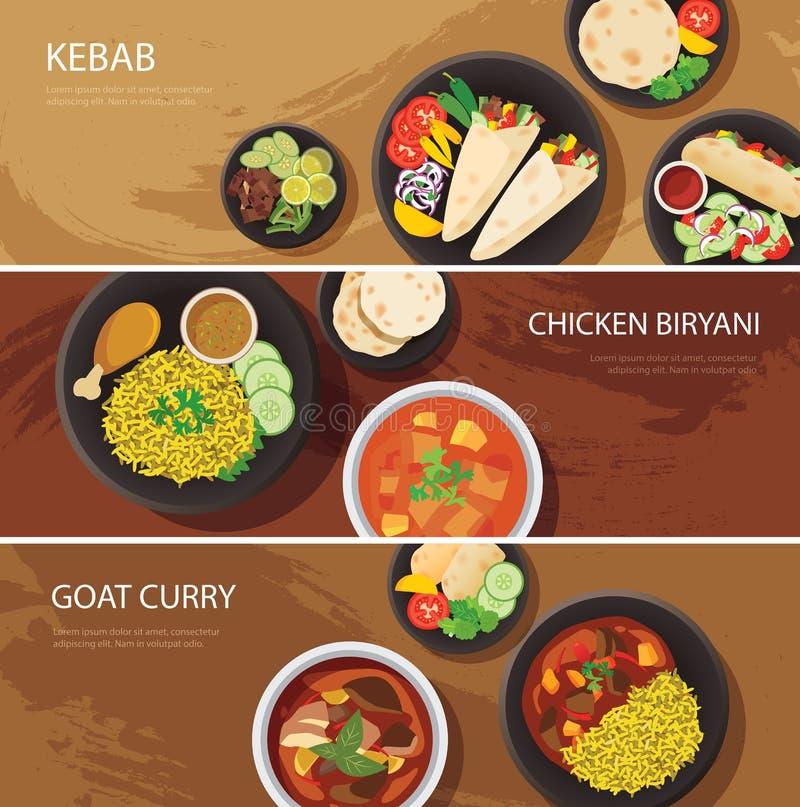 Halal karmowej sieci sztandaru płaski projekt, kebab, kurczaka biryani, kózka royalty ilustracja