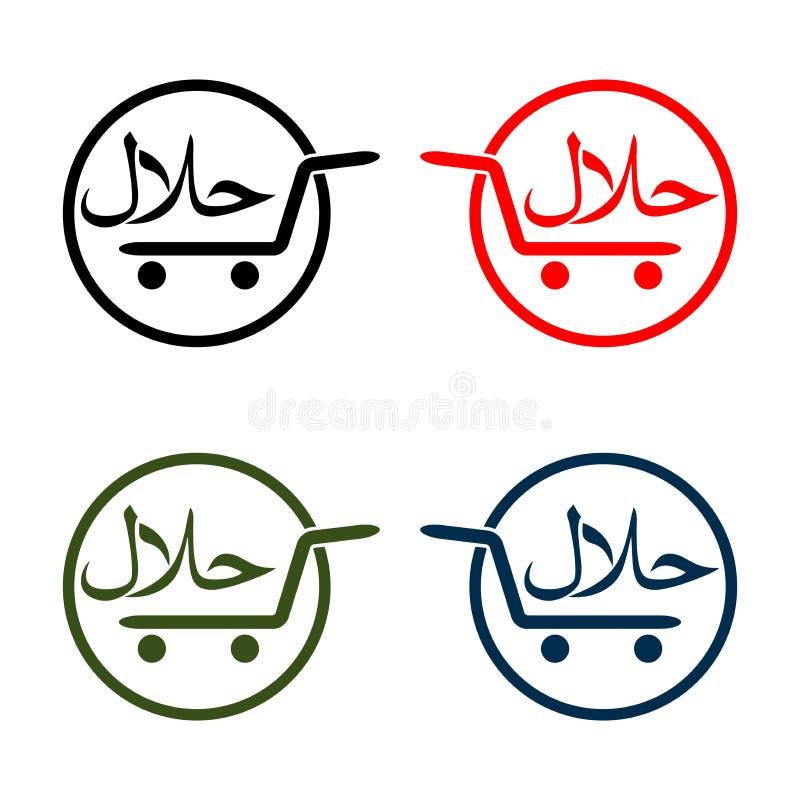Halal logovektoruppsättning, lägenhetdesign Teckendesign Certifikatetikett Livsmedelsproduktdiet-etikett för apps och websites stock illustrationer