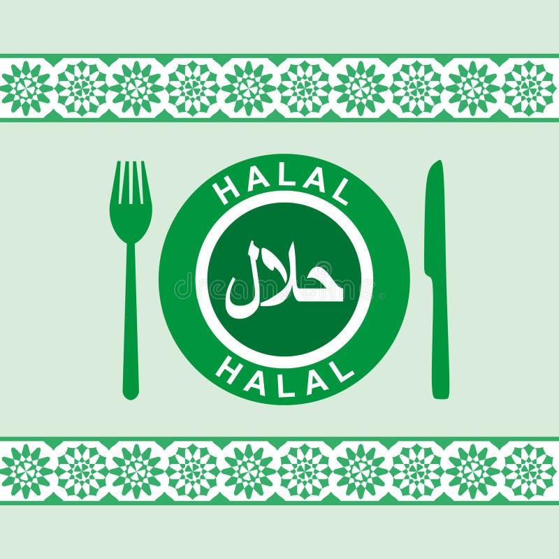 Halal - placa, cuchillo y fork stock de ilustración