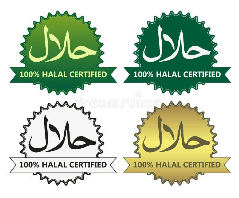 4 halal produkt etykietki royalty ilustracja