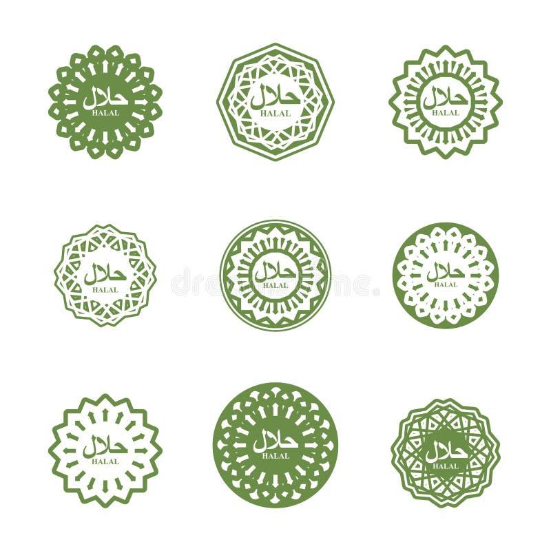 Halal sign. Muslim traditional food logo. Etiquette Arabic meal. stock illustration