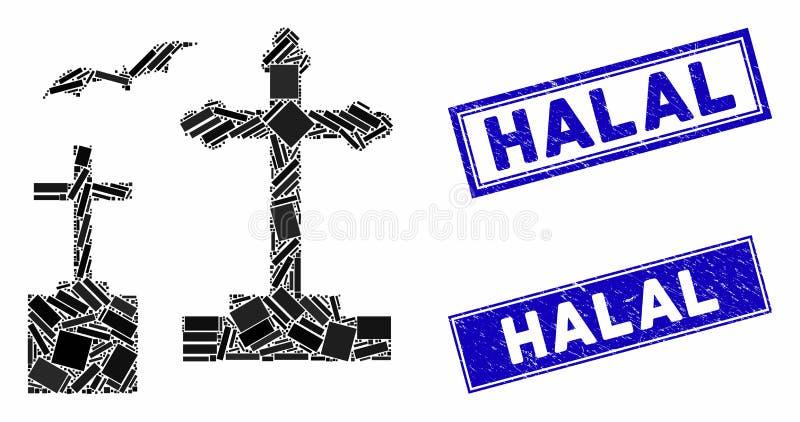 Halal verzegelingen voor begraafplaats, mozaïek en gekraatineerde rechthoek stock illustratie