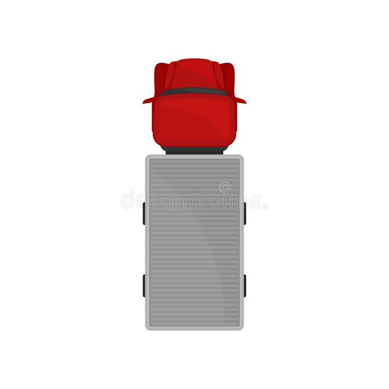 Halb Anhänger-LKW, Automobil für Waren Wagen, Fracht, die Fahrzeug, Draufsichtvektor Illustration liefert lizenzfreie abbildung