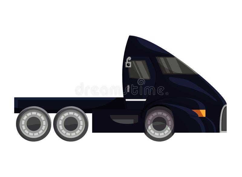 Halb Anhänger-LKW-Vektorfahrzeugtransportlieferungs-Frachtverschiffenillustration, die Satz Transport-fracht transportiert stock abbildung