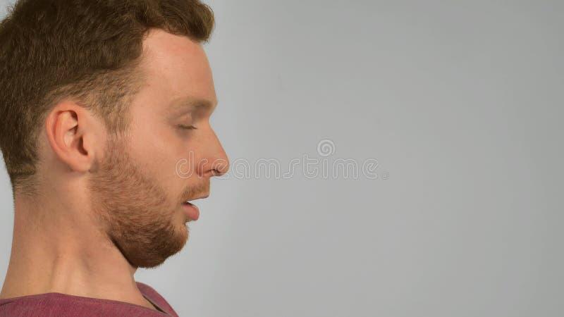 Halb-Gesichtsingwer-Mannesniesen lizenzfreies stockbild