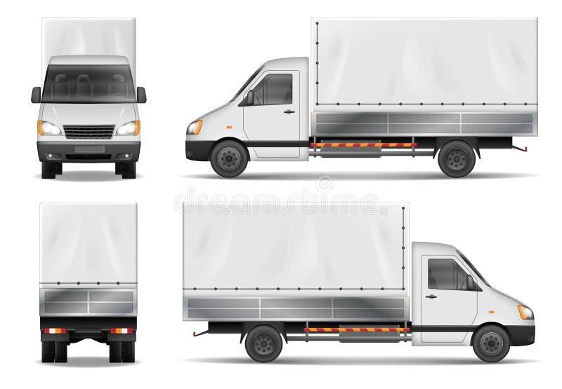 Halb LKW lokalisiert auf Weiß Handelsfrachtlastwagen Lieferwagenvektorschablone von der Seite, Rückseite, Vorderansicht vektor abbildung