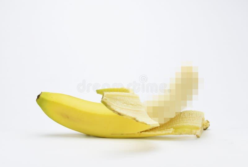 Halb nacktes Symbol des safen Sexes der Bananenpixel 18+ stockfoto