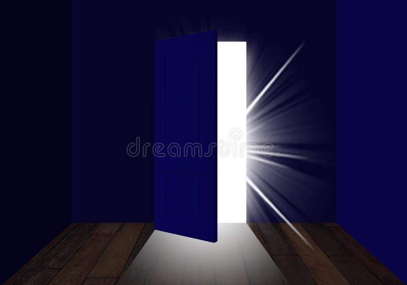 Halb offene Tür, die Licht herein lässt stock abbildung