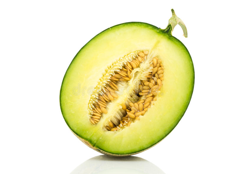 Halbe Japan-Melonenscheibe stockbilder