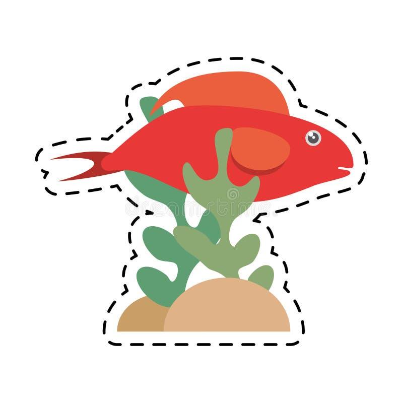 halbe Koralle der aquatischen Umwelt der roten Fische vektor abbildung