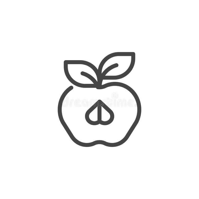 Halber Apfel mit Blattlinie Ikone lokalisiert auf Weiß Fruchtkonturnaufkleber Organisches gesundes Lebensmittelkonzeptlogo Vektor vektor abbildung