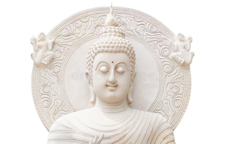 Halber Buddha-Status auf weißem Hintergrund lizenzfreies stockfoto