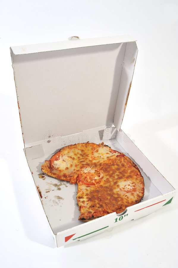 Halber geöffneter Pizza-Kasten lizenzfreies stockfoto