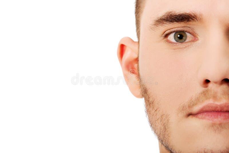 Halber Gesichtsabschluß herauf Porträt stockfotografie