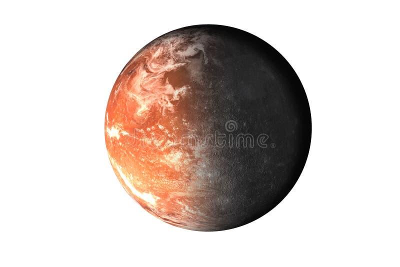 Halber Planet Mercury mit halbem Mars-Planeten des Sonnensystems lokalisiert auf weißem Hintergrund Tod des Planeten stockbilder